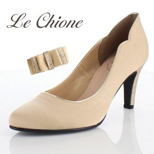 Le Chione ルキオネ 靴 7394 パーティー パンプス リボン ビジュー ラウンドトゥ 結婚式 ベージュ レディース|washington