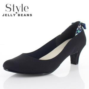 STYLE JELLY BEANS ジェリービーンズ 靴 9011 パンプス ラウンドトゥ 生地 リボン ヒール 花柄 黒 ブラック レディース|washington