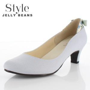 STYLE JELLY BEANS ジェリービーンズ 靴 9011 パンプス ラウンドトゥ 生地 リボン ヒール 花柄 ライトブルー 青 ブルー レディース|washington
