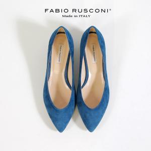 ファビオルスコーニ FABIO RUSCONI パンプス 靴 81106 スエード チャンキーヒール 太ヒール 本革 ローヒール ブルー|washington