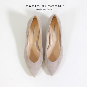ファビオルスコーニ FABIO RUSCONI パンプス 靴 81106 スエード チャンキーヒール 太ヒール 本革 ローヒール ライトグレー|washington