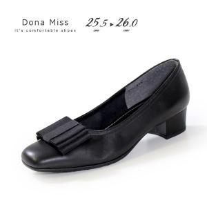 本革 パンプス ローヒール ブラック Dona Miss 381K 黒 リボン フォーマル レディース 靴 卒業式 入学式 冠婚葬祭 大きいサイズ|washington