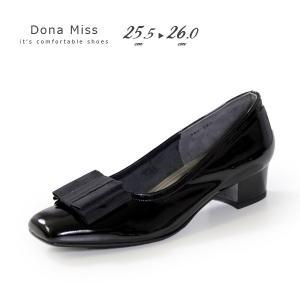 本革 エナメル パンプス ローヒール ブラック Dona Miss 381K 黒 リボン フォーマル レディース 靴 卒業式 入学式 大きいサイズ|washington