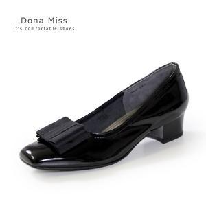 本革 エナメル パンプス ローヒール ブラック Dona Miss 381 黒 リボン フォーマル レディース 靴 卒業式 入学式 卒園式 入園式|washington