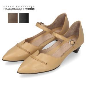 RABOKIGOSHI works 靴 ラボキゴシ ワークス 11739 BA ストラップ パンプス ローヒール ベルト 本革 レディース|washington
