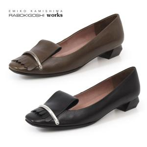 RABOKIGOSHI works 靴 ラボキゴシ ワークス 12204 ローヒール パンプス キルト 本革 スクエアトゥ レディース|washington