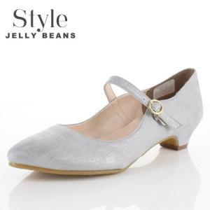 STYLE JELLY BEANS ジェリービーンズ 靴 2104 ストラップ パンプス ローヒール ポインテッドトゥ グレー レディース|washington