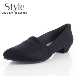 STYLE JELLY BEANS ジェリービーンズ 靴 2124 パンプス ストレッチ スリッポン ローヒール 黒 ブラック ラメ レディース|washington