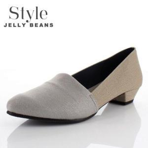 STYLE JELLY BEANS ジェリービーンズ 靴 2124 パンプス ストレッチ スリッポン ローヒール オーク グレー ラメ レディース|washington