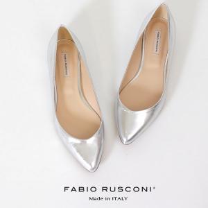 ファビオルスコーニ  FABIO RUSCONI パンプス 靴 81508 シルバー フラット 本革 ローヒール イタリア|washington