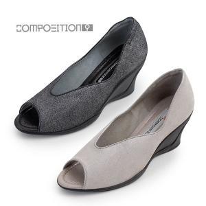 コンポジションナイン COMPOSITION9 靴 2702 コンフォートパンプス オープントゥ レディース ウェッジ ヒール コンポジション9|washington