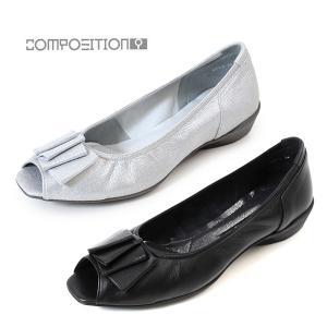 コンポジションナイン COMPOSITION9 靴 2712 コンフォートパンプス リボン オープントゥ レディース ウェッジ ヒール コンポジション9 セール|washington