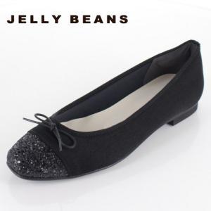 JELLY BEANS ジェリービーンズ 靴 2371 パンプス バレエパンプス バレエシューズ スクエアトゥ リボン 黒 ブラック 日本製 レディース|washington