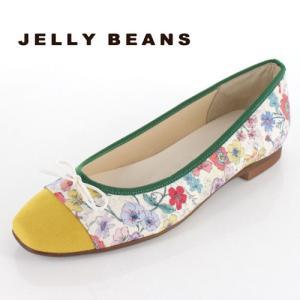 JELLY BEANS ジェリービーンズ 靴 2371 パンプス バレエパンプス バレエシューズ スクエアトゥ リボン 花柄 日本製 レディース|washington