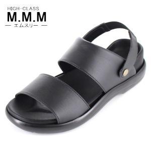 サンダル メンズ M.M.M. エムスリー コンフォートサンダル ソフトインソール 95 黒 3E 室内履き 紳士 靴 日本製|washington