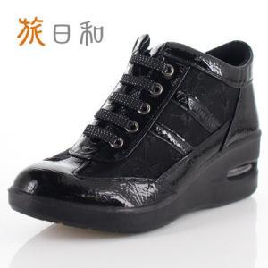 旅日和 たびびより 靴 TB-16140 シューズ ハイカット 消臭 シースルー チュール 紐靴 サイドジップ 黒 ブラック レディース|washington