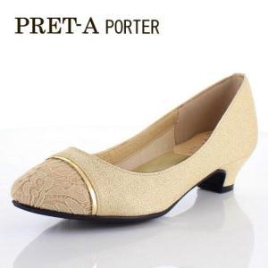 プレタポルテ PRET-A PORTER 靴 9159 パンプス ローヒール 切り替えトゥ レース 生地 ベージュ レディース|washington