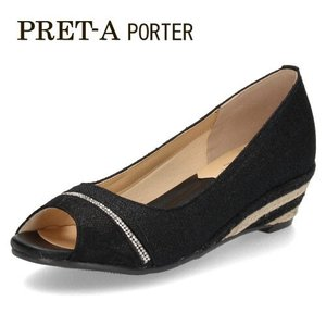 パンプス サンダル レディース プレタポルテ PRET-A PORTER 9313 オープントゥパンプス 黒 ブラック ウエッジヒール ウエッジソール|washington