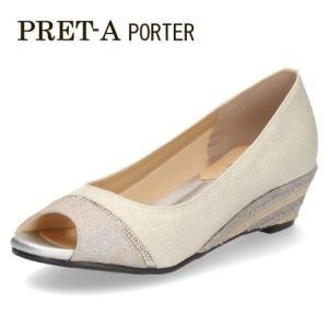 パンプス サンダル レディース プレタポルテ PRET-A PORTER 9313 オープントゥパンプス 白 オフホワイト ウエッジヒール ウエッジソール|washington