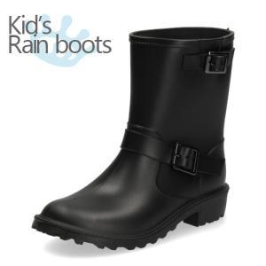 レインブーツ キッズ 長靴 ショート丈 シンプル エンジニアブーツ ML467 ブラック 子供用 雨|washington
