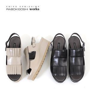 RABOKIGOSHI works 靴 ラボキゴシ ワークス 12180 本革 サンダル ミュール バックストラップサンダル オープントゥ フリンジ レディース セール|washington