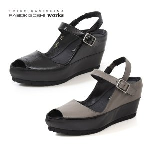 RABOKIGOSHI works 靴 ラボキゴシ ワークス サンダル 12214 厚底 ウエッジソール 本革 ストラップ ストーム レディース セール|washington