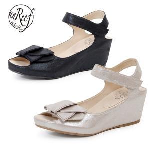 unReef 靴 アンリーフ 3706 サンダル レディース 履きやすい 厚底 ヒール ウェッジソール リボン アンクルストラップ|washington
