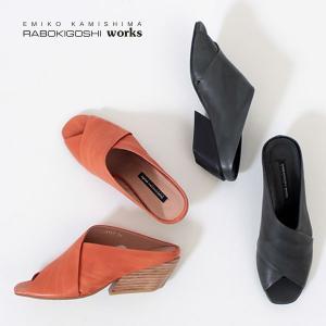 RABOKIGOSHI works 靴 ラボキゴシ ワークス 12161 本革 サンダル ミュール 太ヒール オープントゥ レディース 大きいサイズ 日本製 washington