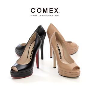 COMEX コメックス プラットフォーム パンプス 靴 5503 ハイヒール オープントゥ ストーム ピンヒール レッドソール 前厚 厚底 レディース|washington
