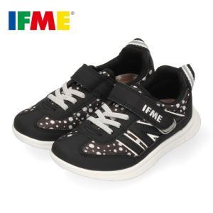 スニーカー イフミー キッズ IFME Light シューズ 22-9727 BLACK ブラック ジュニア 子供靴 ベルクロ 軽量 水玉 washington