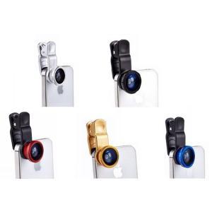 スマートフォン用 レンズ 3in1 クリップ式 自撮りレンズ 3点セット(180°魚眼レンズ、広角レンズ、マイクロレンズ)カメラレンズ 570-0008|washodo