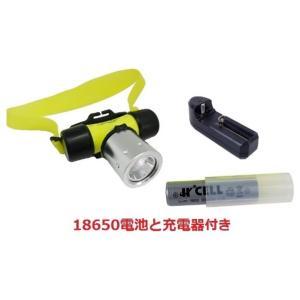 LEDダイビングヘッドライト 潜水ライト 高輝度 完全防水 50M水深対応 CREE XM-L T6搭載 240LM ヘッドランプ 電池式「800-0058」 (18650充電電池使用)|washodo