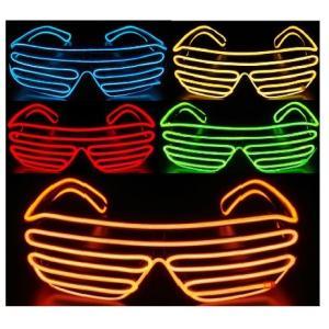 センサー付きタイプ LED EL ワイヤー チューブ 音に合わせて光るメガネ 眼鏡 めがね 単4電池使用「800-0062」|washodo