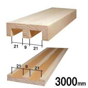 敷居鴨居セット(2本溝)長さ3000mm 溝の幅21mm 溝と溝の間の幅9mm|wasitu-reform
