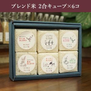 ブレンド米 2合キューブ×6コ ギフトセット/オリジナルお米ギフト/お中元 お歳暮 贈答用|watanabebeikoku