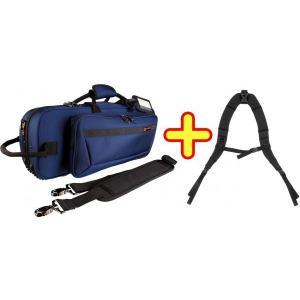 PROTEC(プロテック) トランペットケース 青 セミハードケース リュック ストラップ付き 管楽器 トランペット ケース ブルー 管理品番 PB-301CT BLUE + STRAP