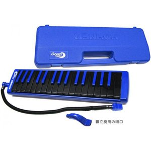 HOHNER(ホーナー) オーシャン メロディカ 鍵盤ハーモニカ 32鍵  カラー鍵盤 黒鍵盤 青鍵盤 楽器 本体 ケース ホース セット ブルー Ocean Melodica Blue|watanabegakki