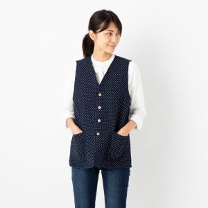 中綿キルティングベスト ドビー織<日本製久留米産>男女兼用で着用可
