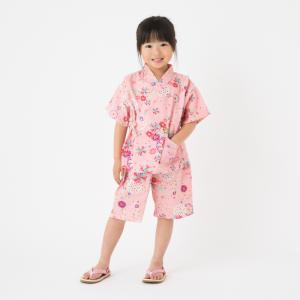 【日本製】純国産の女の子用リップル生地甚平。街着やお祭り、プレゼントに大人気!花火大会 なつまつり【ゆうパケットで送料無料】日本製 watanosato