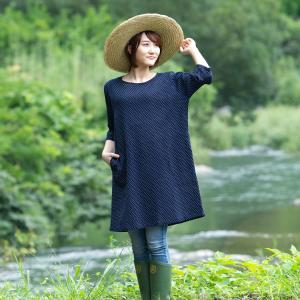久留米ちぢみ織7分袖のびるチュニック ワンピース 軽くて涼しい快適素材 日本製 watanosato