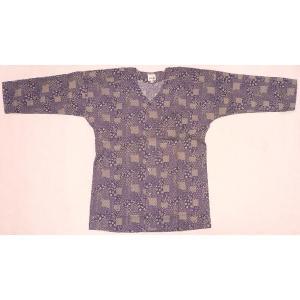 【訳あり・処分特価品】お祭鯉口シャツ紫小紋柄L(大)サイズ・同柄手拭いセット|wataro