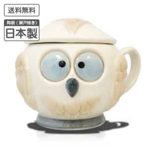 入れ歯ケース エチケットキーパー ふくろう 【 洗浄器 ポット 陶器製 】 watasinoseikatu