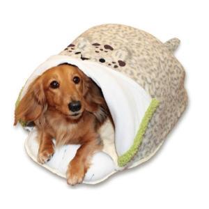 電気のいらない暖か、からだ保温ぶとん レオパード(S) ペット用かまくら型ベッド あったか|watch-me