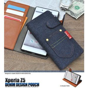 Xperia Z5(SO-01H/SOV32/501SO)用 デニムデザインスタンドケースポーチ 手帳型 横開き スタンド機能付 エクスぺリアZ5 (docomo SO-01H/au SOV32/sb 501SO)|watch-me