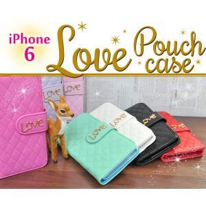 iPhone6/iPhone6S(4.7インチ)用 LOVEポーチケース アイフォン6 スマホケース スマホカバー ケースカバー|watch-me