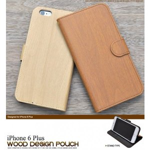 アイフォンケース iPhone 6 Plus用 ウッドデザインスタンドケースポーチ アイフォン6  ケースカバー|watch-me