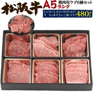 A5ランク松阪牛ウデ(カタ肉)6種類焼肉セット 合計480g  焼肉 高級 国産牛肉 お取り寄せ お中元 敬老の日 お歳暮 グルメ ギフト 送料無料冷凍便|watch-me