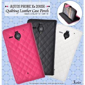 スマホケース AQUOS PHONE Xx 206SH用 キルティングレザーケースポーチ 手帳型 スタンド機能付き SB ソフトバンクモバイル アクオスフォン Xx 206SH|watch-me
