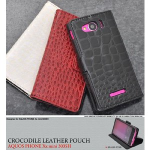 AQUOS PHONE Xx mini SoftBank 303SH用 クロコダイルスタンドケースポーチ 手帳型 スタンド機能付 ソフトバンク アクオスフォン ダブルエックス ミニ 303SH|watch-me