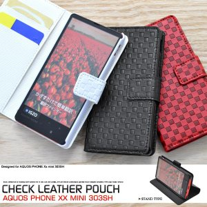 AQUOS PHONE Xx mini SoftBank 303SH用 市松模様デザインスタンドケースポーチ 手帳型 スタンド機能付 ソフトバンク アクオスフォン ダブルエックス ミニ 303SH|watch-me